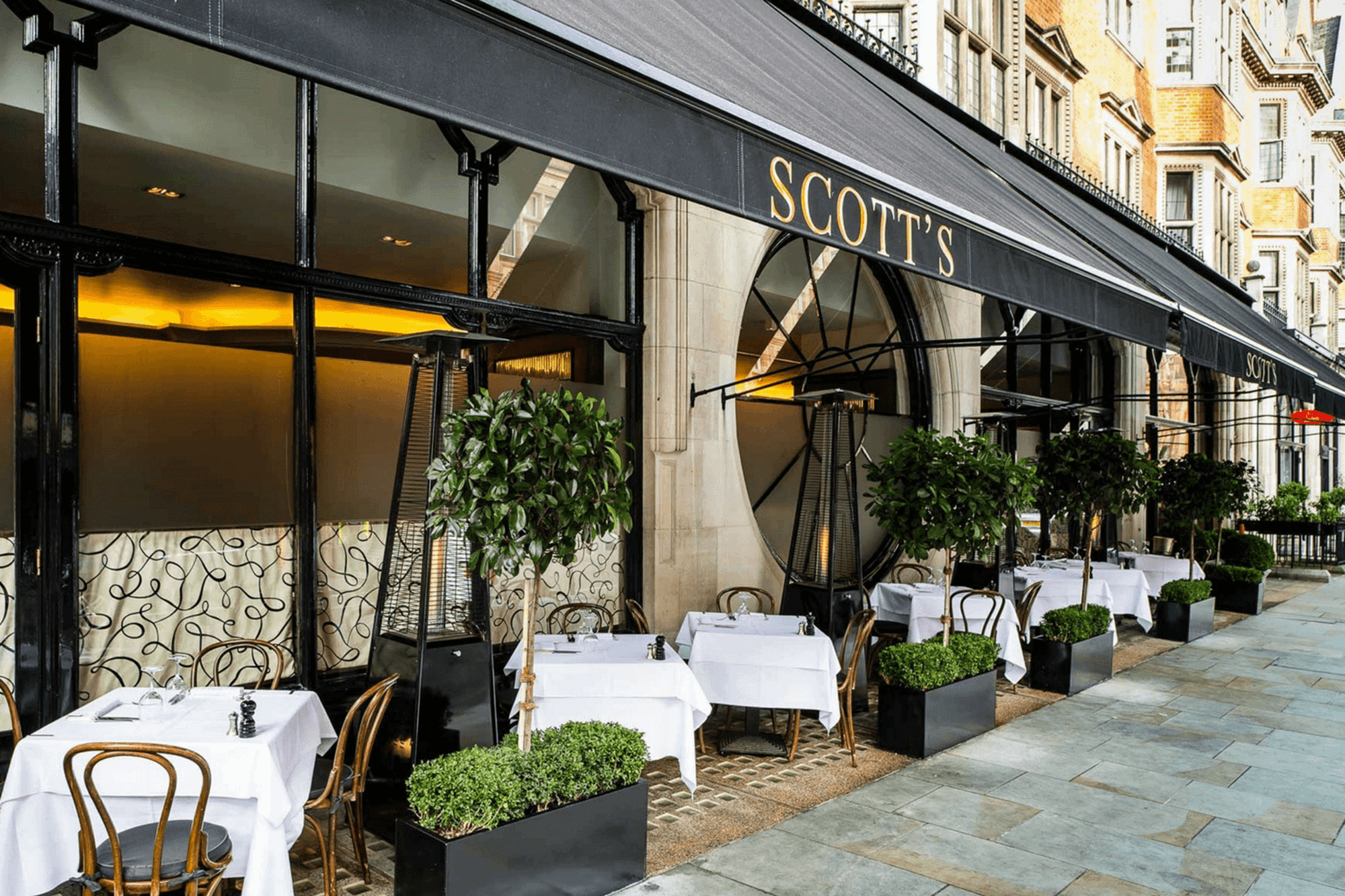 Scott's terrace is ideal for outside dining in London