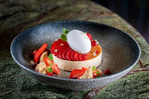 Strawberry cheesecake available at Scott's restaurant in Mayfair